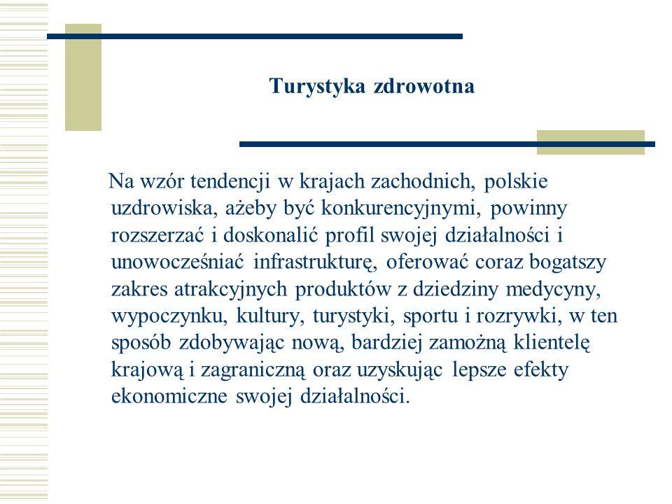 Produkty turystyczne Uzdrowiska polskie mogą oferować przybywającym takie produkty turystyczne jak: turystyka wypoczynkowa (formy stacjonarnego wypoczynku zorganizowanego i indywidualnego dla różnych segmentów), turystyka kwalifikowana i specjalistyczna (piesza, rowerowa narciarska, wodna, konna, przyrodnicza oraz inne formy o charakterze alternatywnym), turystyka kulturowa, szczególnie w miejscowościach historycznych, turystyka kongresowa.