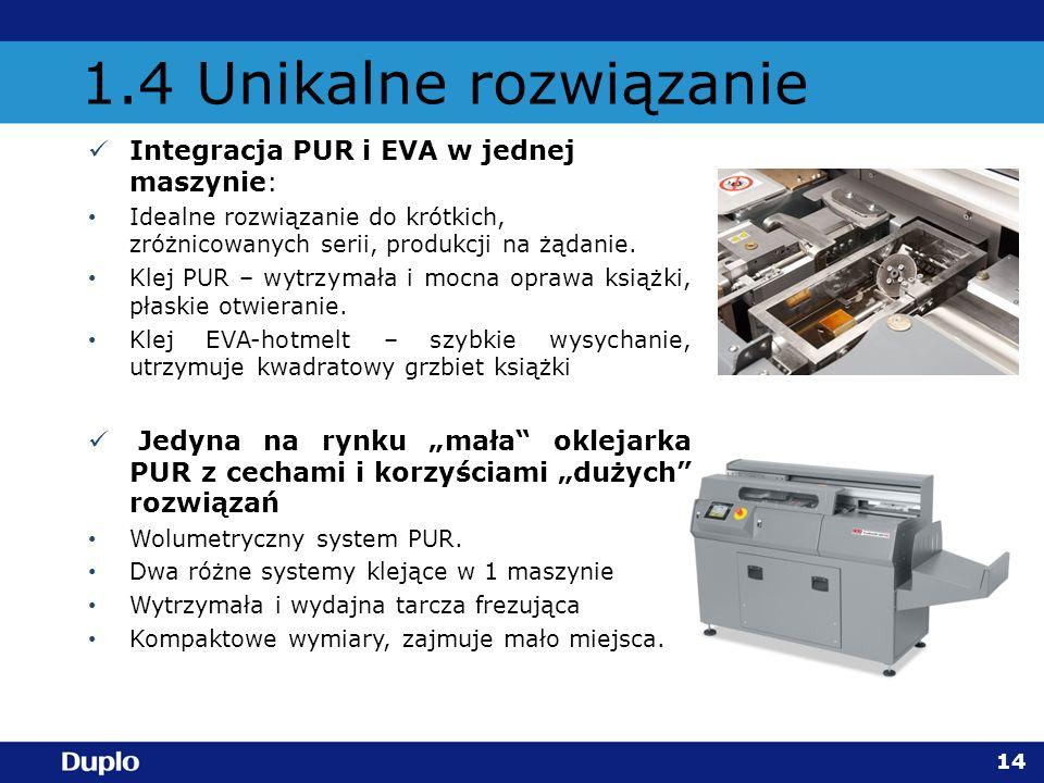 1.4 Unikalne rozwiązanie Integracja PUR i EVA w jednej maszynie: Idealne rozwiązanie do krótkich, zróżnicowanych serii, produkcji na żądanie. Klej PUR