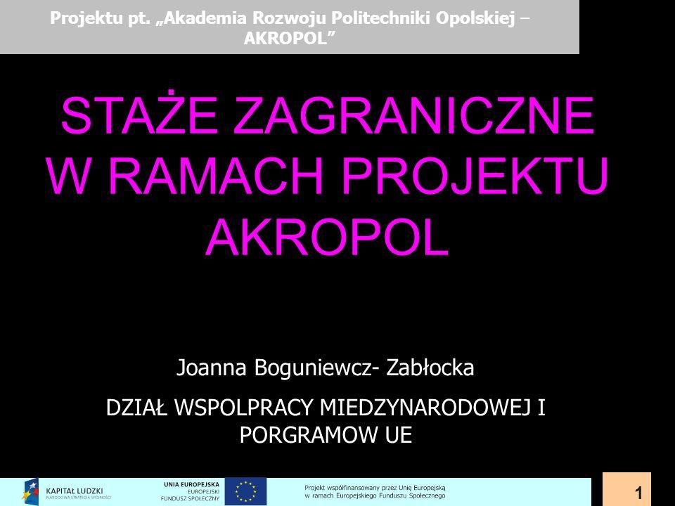 1 Projektu pt. Akademia Rozwoju Politechniki Opolskiej – AKROPOL Joanna Boguniewcz- Zabłocka DZIAŁ WSPOLPRACY MIEDZYNARODOWEJ I PORGRAMOW UE STAŻE ZAG