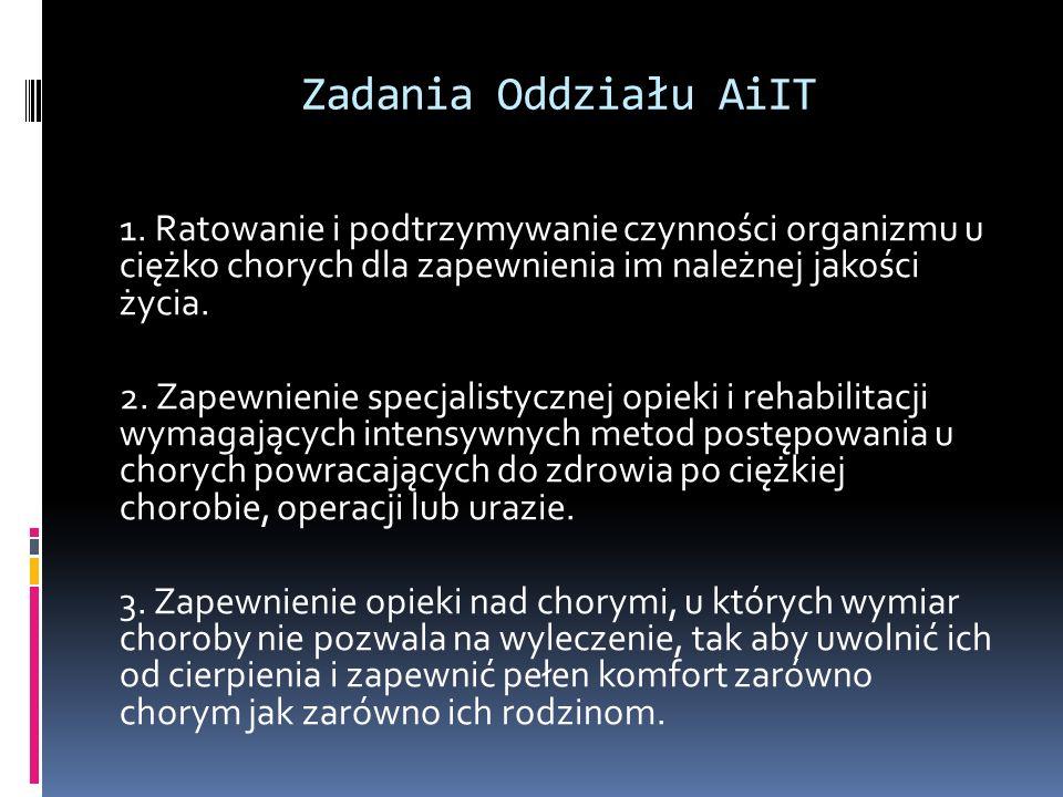 Zadania Oddziału AiIT 1. Ratowanie i podtrzymywanie czynności organizmu u ciężko chorych dla zapewnienia im należnej jakości życia. 2. Zapewnienie spe