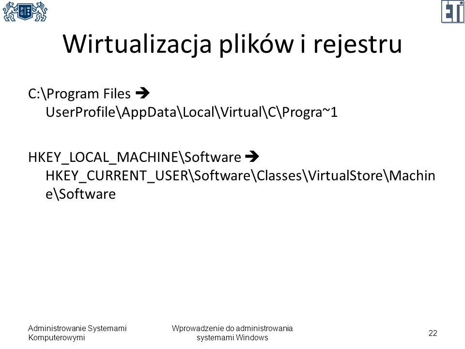 Wirtualizacja plików i rejestru C:\Program Files UserProfile\AppData\Local\Virtual\C\Progra~1 HKEY_LOCAL_MACHINE\Software HKEY_CURRENT_USER\Software\C