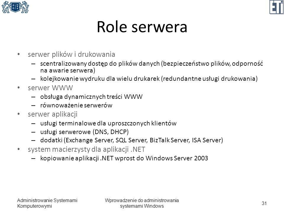 Role serwera serwer plików i drukowania – scentralizowany dostęp do plików danych (bezpieczeństwo plików, odporność na awarie serwera) – kolejkowanie