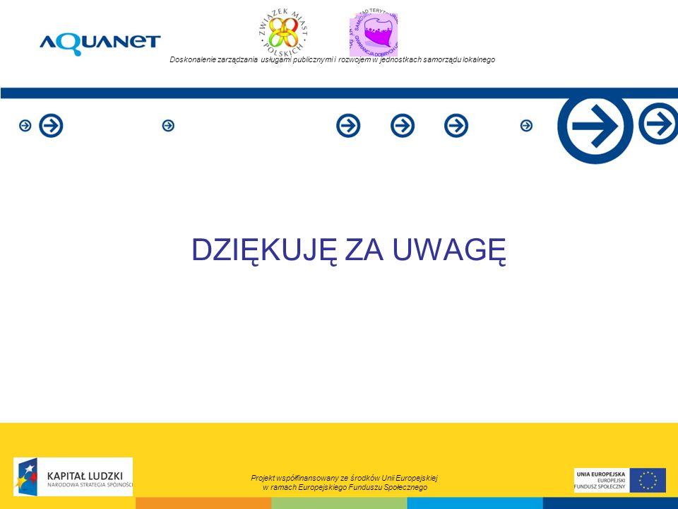 DZIĘKUJĘ ZA UWAGĘ Projekt współfinansowany ze środków Unii Europejskiej w ramach Europejskiego Funduszu Społecznego Doskonalenie zarządzania usługami