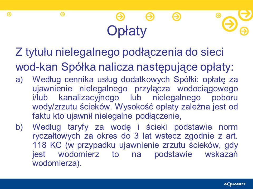 Opłaty Z tytułu nielegalnego podłączenia do sieci wod-kan Spółka nalicza następujące opłaty: a)Według cennika usług dodatkowych Spółki: opłatę za ujaw