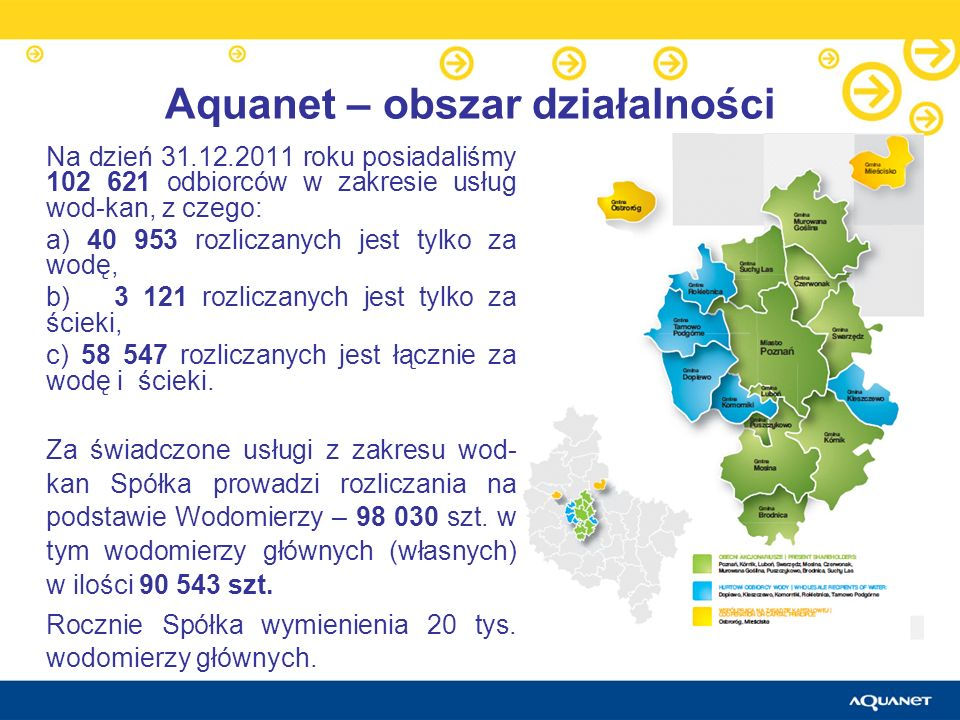 Na dzień 31.12.2011 roku posiadaliśmy 102 621 odbiorców w zakresie usług wod-kan, z czego: a) 40 953 rozliczanych jest tylko za wodę, b) 3 121 rozlicz