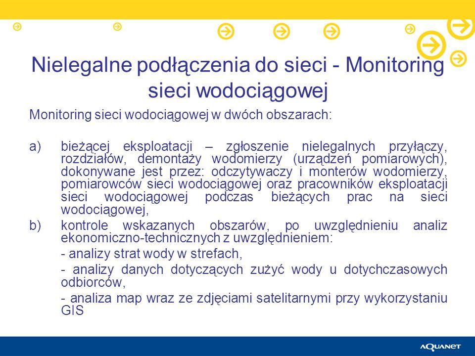 Nielegalne podłączenia do sieci - Monitoring sieci wodociągowej Monitoring sieci wodociągowej w dwóch obszarach: a)bieżącej eksploatacji – zgłoszenie