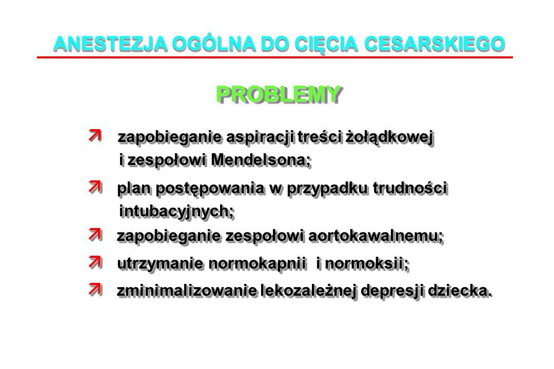 ANESTEZJA OGÓLNA DO CIĘCIA CESARSKIEGO PROBLEMYPROBLEMY zapobieganie aspiracji treści żołądkowej i zespołowi Mendelsona; i zespołowi Mendelsona; plan postępowania w przypadku trudności plan postępowania w przypadku trudności intubacyjnych; intubacyjnych; zapobieganie zespołowi aortokawalnemu; zapobieganie zespołowi aortokawalnemu; utrzymanie normokapnii i normoksii; utrzymanie normokapnii i normoksii; zminimalizowanie lekozależnej depresji dziecka zminimalizowanie lekozależnej depresji dziecka.
