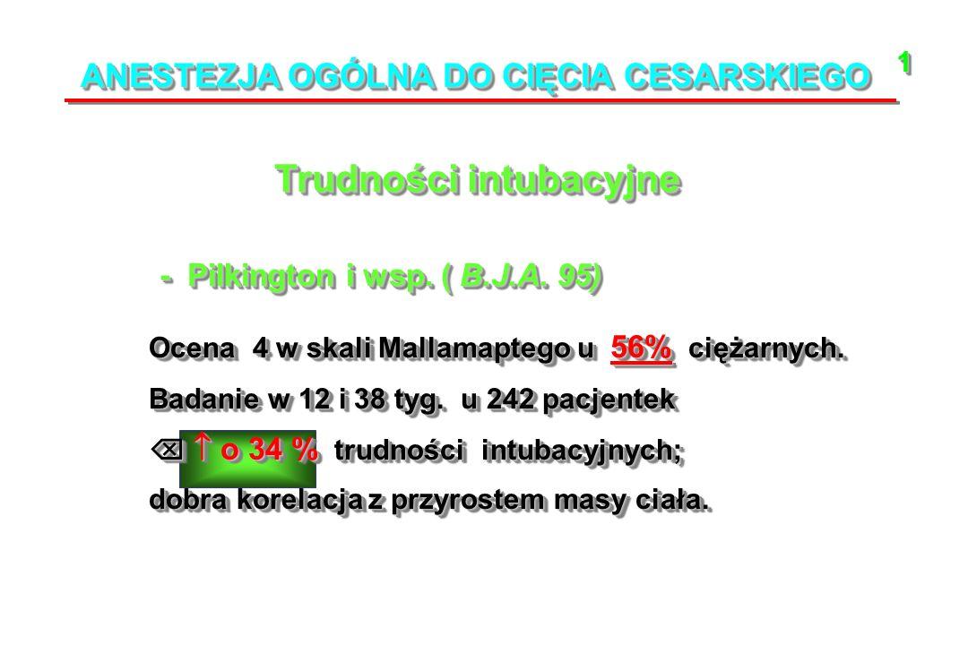 ANESTEZJA OGÓLNA DO CIĘCIA CESARSKIEGO Trudności intubacyjne Ocena 4 w skali Mallamaptego u 56% ciężarnych.