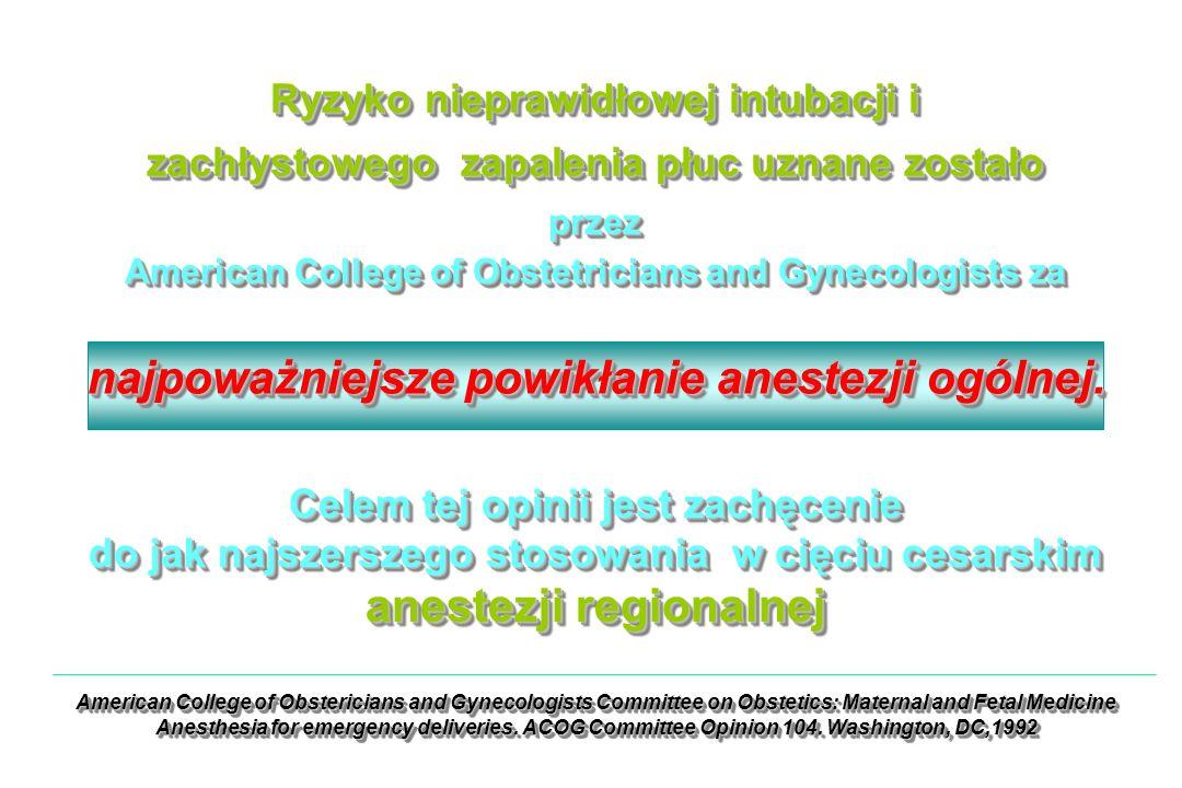 Ryzyko nieprawidłowej intubacji i zachłystowego zapalenia płuc uznane zostało przez American College of Obstetricians and Gynecologists za Ryzyko nieprawidłowej intubacji i zachłystowego zapalenia płuc uznane zostało przez American College of Obstetricians and Gynecologists za najpoważniejsze powikłanie anestezji ogólnej.