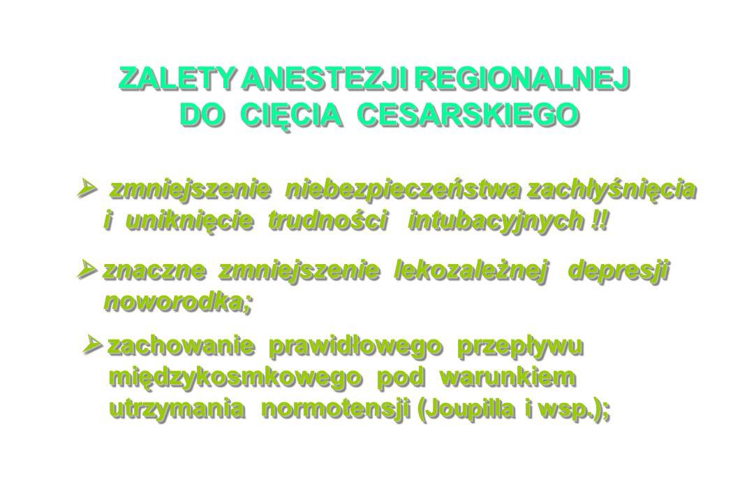 ZALETY ANESTEZJI REGIONALNEJ DO CIĘCIA CESARSKIEGO DO CIĘCIA CESARSKIEGO ZALETY ANESTEZJI REGIONALNEJ DO CIĘCIA CESARSKIEGO DO CIĘCIA CESARSKIEGO zmniejszenie niebezpieczeństwa zachłyśnięcia zmniejszenie niebezpieczeństwa zachłyśnięcia i uniknięcie trudności intubacyjnych !.