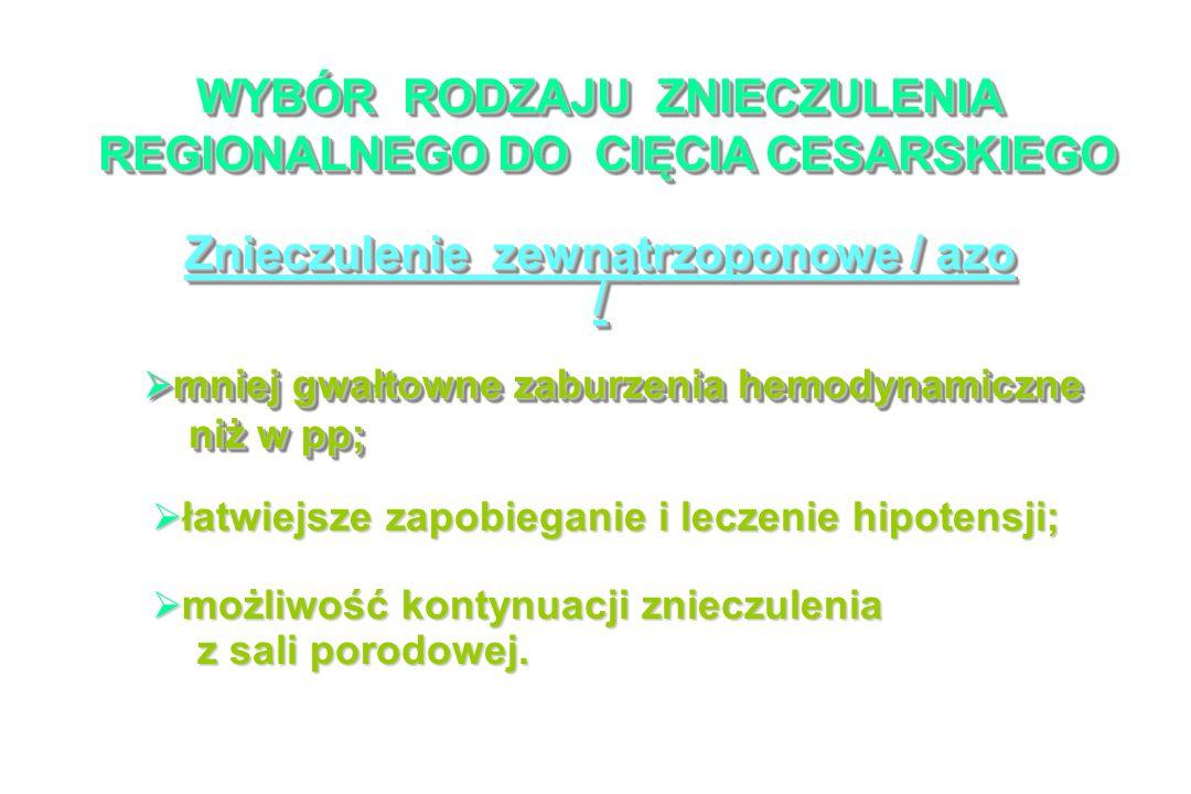 WYBÓR RODZAJU ZNIECZULENIA REGIONALNEGO DO CIĘCIA CESARSKIEGO REGIONALNEGO DO CIĘCIA CESARSKIEGO WYBÓR RODZAJU ZNIECZULENIA REGIONALNEGO DO CIĘCIA CESARSKIEGO REGIONALNEGO DO CIĘCIA CESARSKIEGO Znieczulenie zewnątrzoponowe / azo / mniej gwałtowne zaburzenia hemodynamiczne mniej gwałtowne zaburzenia hemodynamiczne niż w pp; niż w pp; mniej gwałtowne zaburzenia hemodynamiczne mniej gwałtowne zaburzenia hemodynamiczne niż w pp; niż w pp; łatwiejsze zapobieganie i leczenie hipotensji; łatwiejsze zapobieganie i leczenie hipotensji; możliwość kontynuacji znieczulenia możliwość kontynuacji znieczulenia z sali porodowej.
