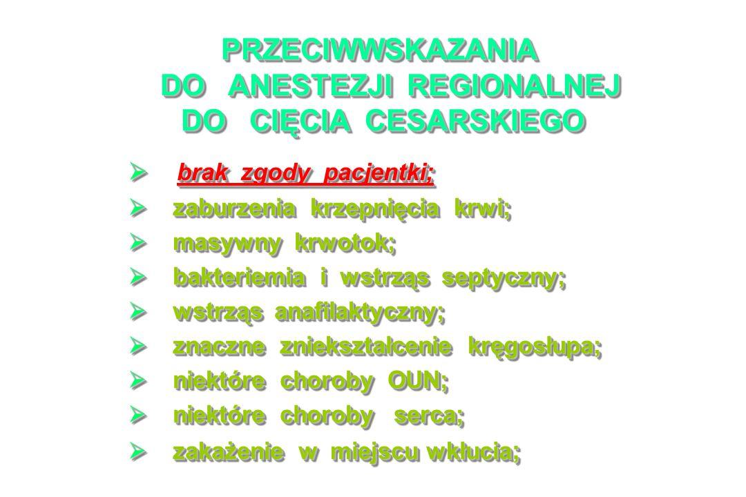 PRZECIWWSKAZANIA DO ANESTEZJI REGIONALNEJ DO CIĘCIA CESARSKIEGO brak zgody pacjentki; brak zgody pacjentki; zaburzenia krzepnięcia krwi; zaburzenia krzepnięcia krwi; masywny krwotok; masywny krwotok; bakteriemia i wstrząs septyczny; bakteriemia i wstrząs septyczny; wstrząs anafilaktyczny; wstrząs anafilaktyczny; znaczne zniekształcenie kręgosłupa; znaczne zniekształcenie kręgosłupa; niektóre choroby OUN; niektóre choroby OUN; niektóre choroby serca; niektóre choroby serca; zakażenie w miejscu wkłucia ; zakażenie w miejscu wkłucia ; brak zgody pacjentki; brak zgody pacjentki; zaburzenia krzepnięcia krwi; zaburzenia krzepnięcia krwi; masywny krwotok; masywny krwotok; bakteriemia i wstrząs septyczny; bakteriemia i wstrząs septyczny; wstrząs anafilaktyczny; wstrząs anafilaktyczny; znaczne zniekształcenie kręgosłupa; znaczne zniekształcenie kręgosłupa; niektóre choroby OUN; niektóre choroby OUN; niektóre choroby serca; niektóre choroby serca; zakażenie w miejscu wkłucia ; zakażenie w miejscu wkłucia ;