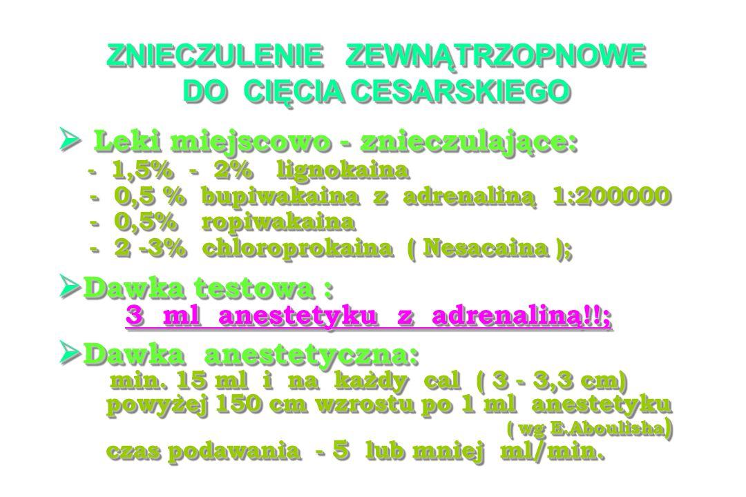 ZNIECZULENIE ZEWNĄTRZOPNOWE DO CIĘCIA CESARSKIEGO Leki miejscowo - znieczulające: Leki miejscowo - znieczulające: - 1,5% - 2% lignokaina - 1,5% - 2% lignokaina - 0,5 % bupiwakaina z adrenaliną 1:200000 - 0,5 % bupiwakaina z adrenaliną 1:200000 - 0,5% ropiwakaina - 0,5% ropiwakaina - 2 -3% chloroprokaina ( Nesacaina ); - 2 -3% chloroprokaina ( Nesacaina ); Leki miejscowo - znieczulające: Leki miejscowo - znieczulające: - 1,5% - 2% lignokaina - 1,5% - 2% lignokaina - 0,5 % bupiwakaina z adrenaliną 1:200000 - 0,5 % bupiwakaina z adrenaliną 1:200000 - 0,5% ropiwakaina - 0,5% ropiwakaina - 2 -3% chloroprokaina ( Nesacaina ); - 2 -3% chloroprokaina ( Nesacaina ); Dawka testowa : Dawka testowa : 3 ml anestetyku z adrenaliną!!; 3 ml anestetyku z adrenaliną!!; Dawka testowa : Dawka testowa : 3 ml anestetyku z adrenaliną!!; 3 ml anestetyku z adrenaliną!!; Dawka anestetyczna: Dawka anestetyczna: min.
