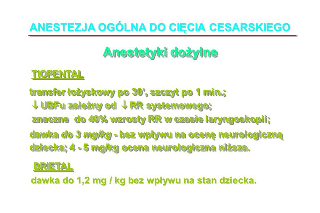 ANESTEZJA OGÓLNA DO CIĘCIA CESARSKIEGO Anestetyki dożylne transfer łożyskowy po 30, szczyt po 1 min.; transfer łożyskowy po 30, szczyt po 1 min.; UBFu zależny od RR systemowego; UBFu zależny od RR systemowego; znaczne do 40% wzrosty RR w czasie laryngoskopii; znaczne do 40% wzrosty RR w czasie laryngoskopii; dawka do 3 mg/kg - bez wpływu na ocenę neurologiczną dawka do 3 mg/kg - bez wpływu na ocenę neurologiczną dziecka; 4 - 5 mg/kg ocena neurologiczna niższa.