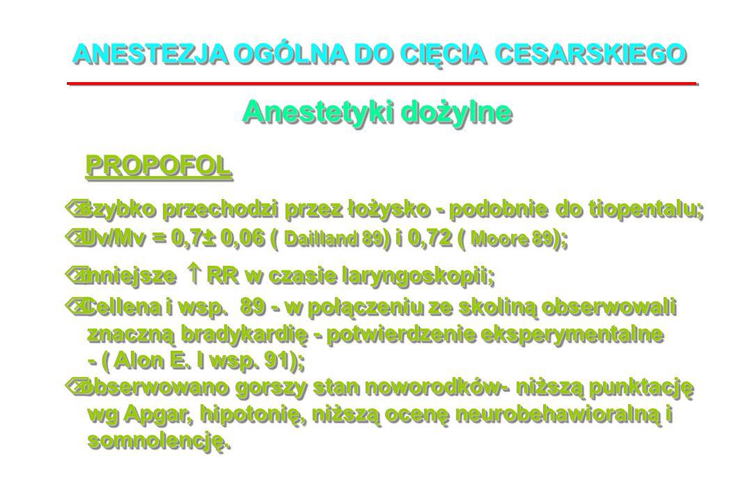 ANESTEZJA OGÓLNA DO CIĘCIA CESARSKIEGO Anestetyki dożylne PROPOFOLPROPOFOL Õ szybko przechodzi przez łożysko - podobnie do tiopentalu; Õ Uv/Mv = 0,7± 0,06 ( Dailland 89 ) i 0,72 ( Moore 89 ); Õ mniejsze RR w czasie laryngoskopii; Õ Cellena i wsp.
