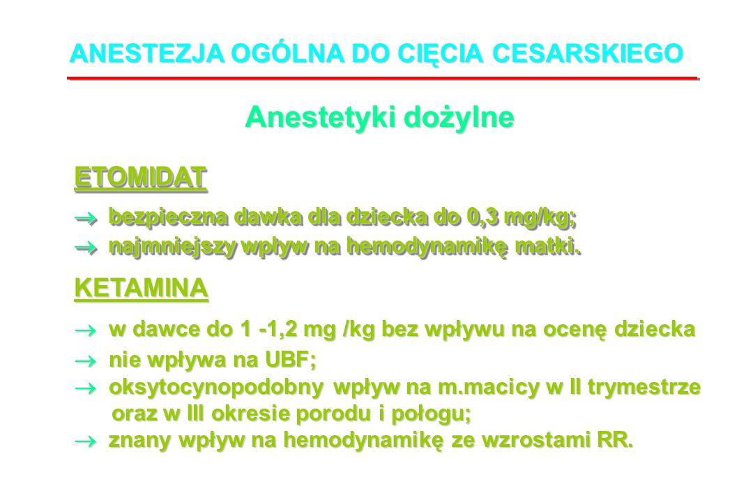 bezpieczna dawka dla dziecka do 0,3 mg/kg; bezpieczna dawka dla dziecka do 0,3 mg/kg; najmniejszy wpływ na hemodynamikę matki.