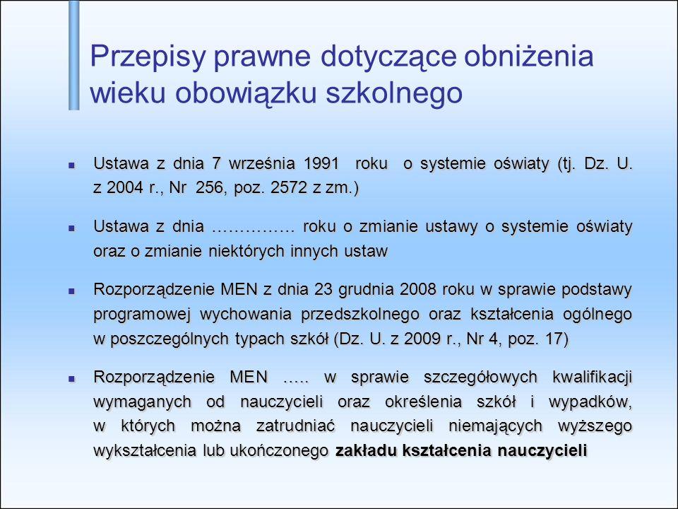 Przepisy prawne dotyczące obniżenia wieku obowiązku szkolnego Ustawa z dnia 7 września 1991 roku o systemie oświaty (tj. Dz. U. z 2004 r., Nr 256, poz