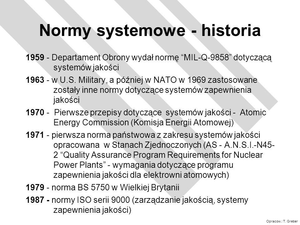 Opracow.: T. Greber Normy systemowe - historia 1959 - Departament Obrony wydał normę MIL-Q-9858 dotyczącą systemów jakości 1963 - w U.S. Military, a p