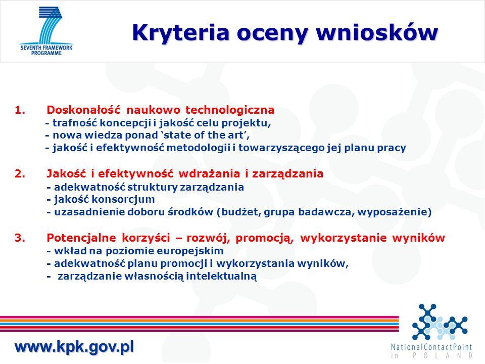 www.kpk.gov.pl Kryteria oceny wniosków Kryteria oceny wniosków www.kpk.gov.pl 1.Doskonałość naukowo technologiczna - trafność koncepcji i jakość celu projektu, - nowa wiedza ponad state of the art, - jakość i efektywność metodologii i towarzyszącego jej planu pracy 2.Jakość i efektywność wdrażania i zarządzania - adekwatność struktury zarządzania - jakość konsorcjum - uzasadnienie doboru środków (budżet, grupa badawcza, wyposażenie) 3.Potencjalne korzyści – rozwój, promocją, wykorzystanie wyników - wkład na poziomie europejskim - adekwatność planu promocji i wykorzystania wyników, - zarządzanie własnością intelektualną