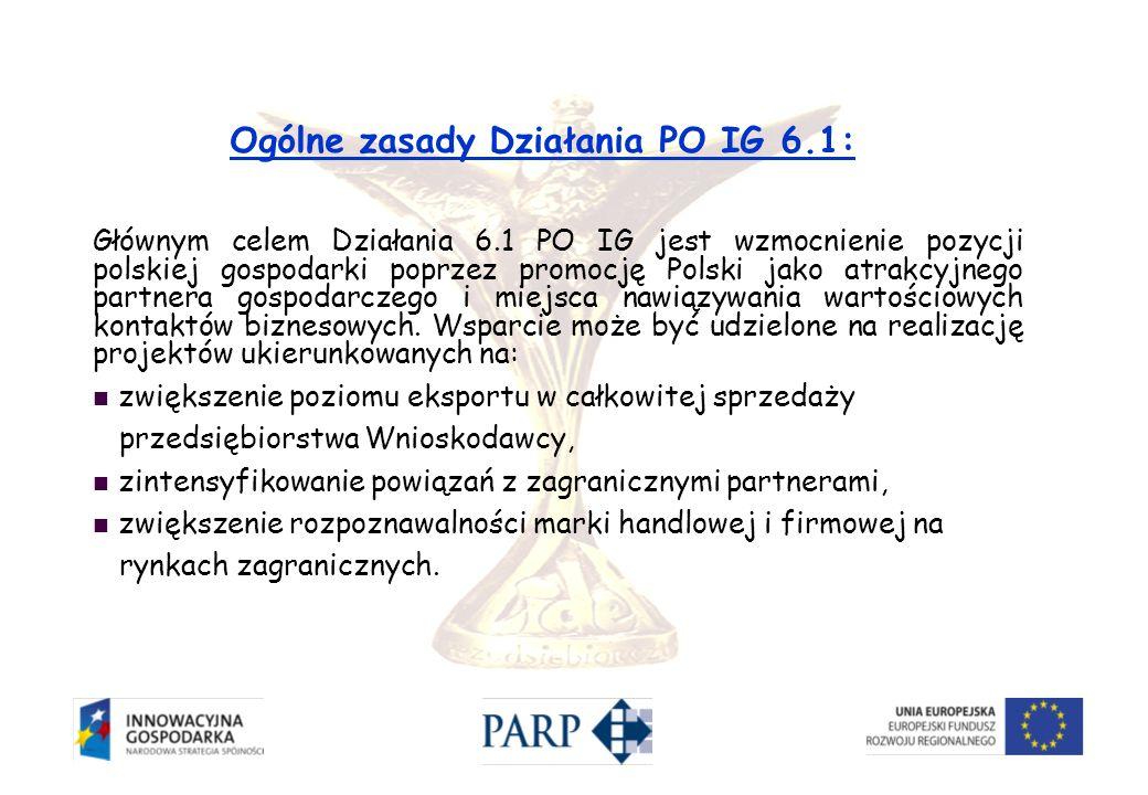 Głównym celem Działania 6.1 PO IG jest wzmocnienie pozycji polskiej gospodarki poprzez promocję Polski jako atrakcyjnego partnera gospodarczego i miej