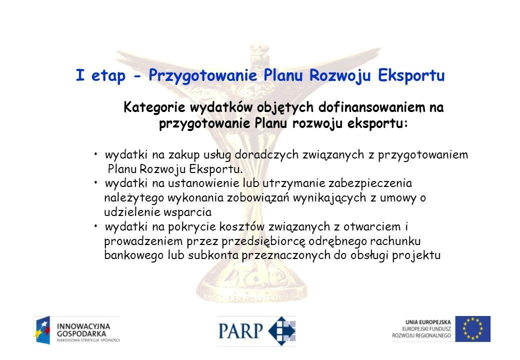 Kategorie wydatków objętych dofinansowaniem na przygotowanie Planu rozwoju eksportu: wydatki na zakup usług doradczych związanych z przygotowaniem Pla