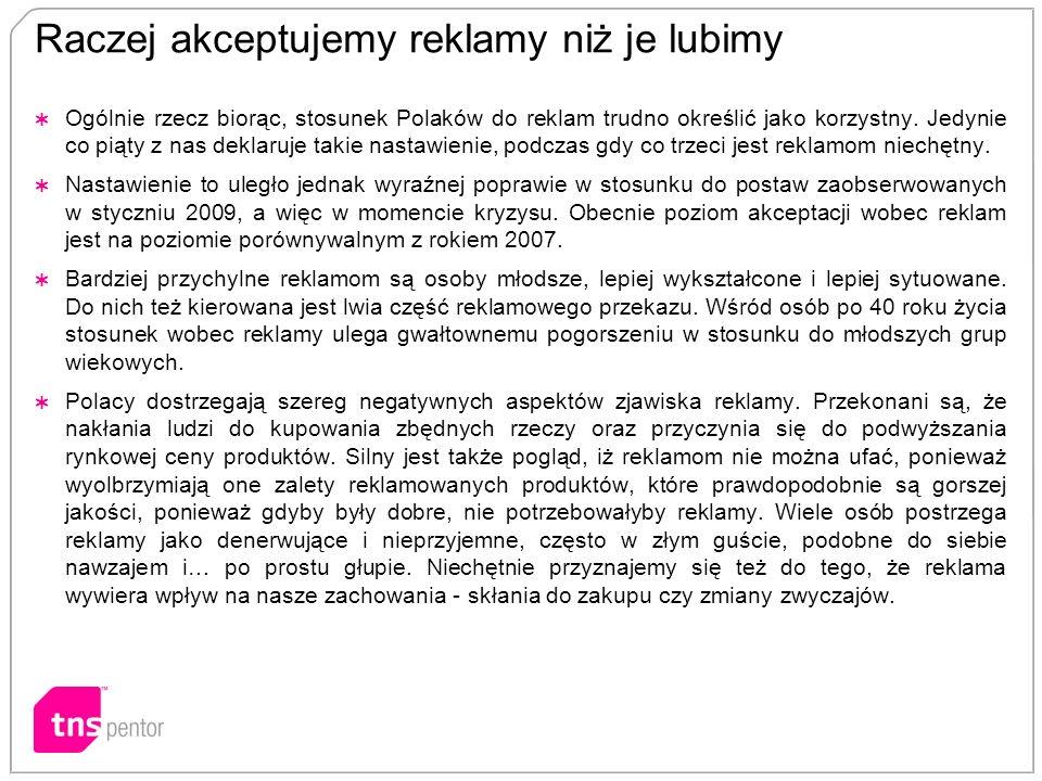 Raczej akceptujemy reklamy niż je lubimy Ogólnie rzecz biorąc, stosunek Polaków do reklam trudno określić jako korzystny. Jedynie co piąty z nas dekla