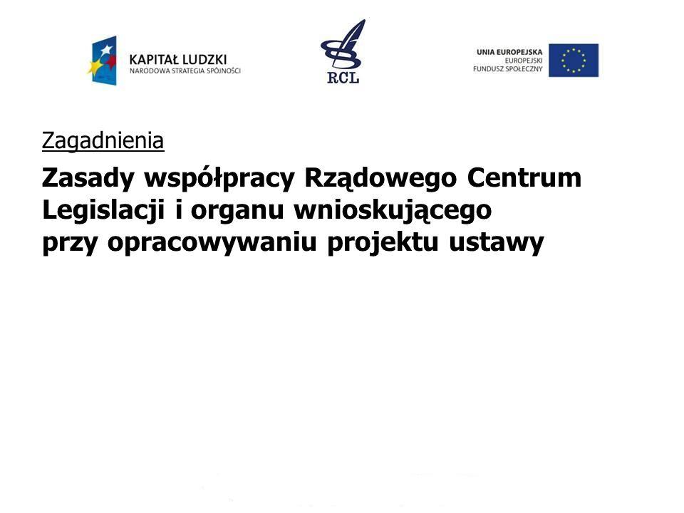 Zagadnienia Zasady współpracy Rządowego Centrum Legislacji i organu wnioskującego przy opracowywaniu projektu ustawy