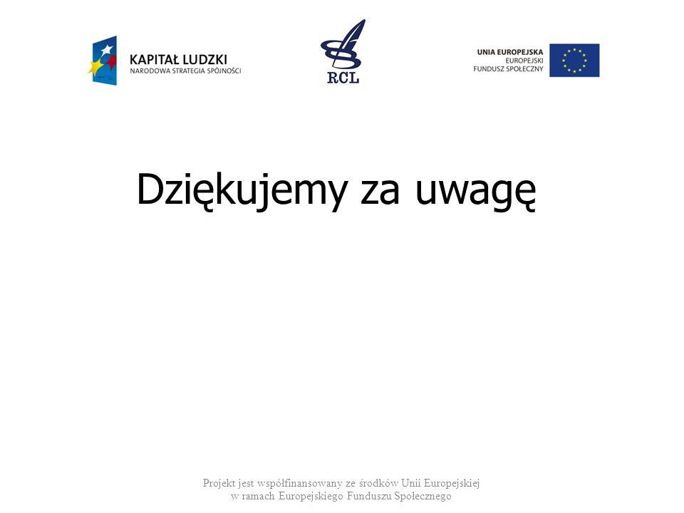 Projekt jest współfinansowany ze środków Unii Europejskiej w ramach Europejskiego Funduszu Społecznego Dziękujemy za uwagę