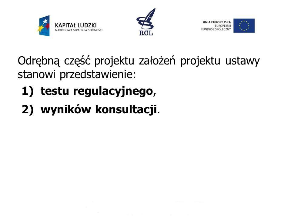 Odrębną część projektu założeń projektu ustawy stanowi przedstawienie: 1) testu regulacyjnego, 2) wyników konsultacji.