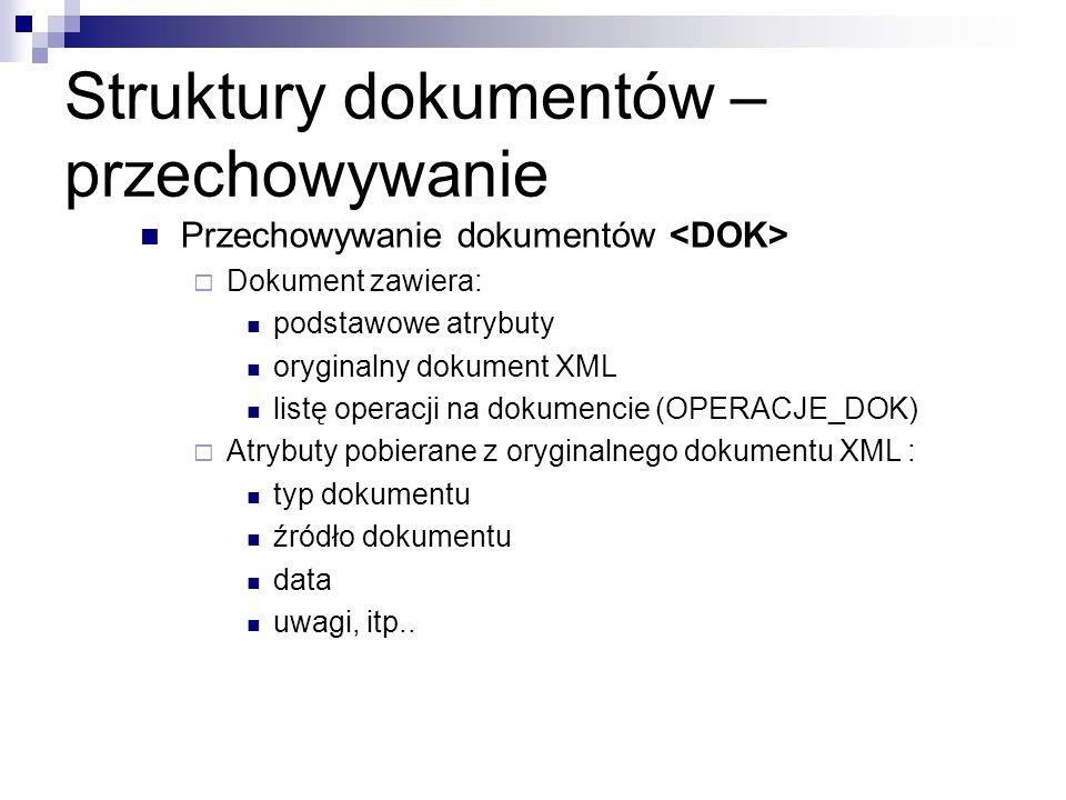 Struktury dokumentów – przechowywanie Przechowywanie dokumentów Dokument zawiera: podstawowe atrybuty oryginalny dokument XML listę operacji na dokume