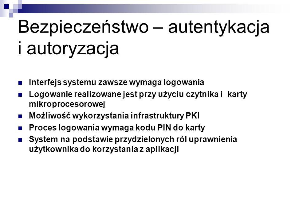 Bezpieczeństwo – autentykacja i autoryzacja Interfejs systemu zawsze wymaga logowania Logowanie realizowane jest przy użyciu czytnika i karty mikropro