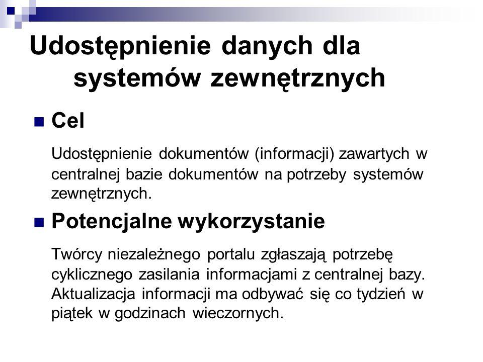 Udostępnienie danych dla systemów zewnętrznych Cel Udostępnienie dokumentów (informacji) zawartych w centralnej bazie dokumentów na potrzeby systemów
