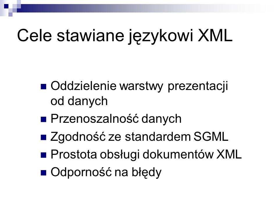 Cele stawiane językowi XML Oddzielenie warstwy prezentacji od danych Przenoszalność danych Zgodność ze standardem SGML Prostota obsługi dokumentów XML
