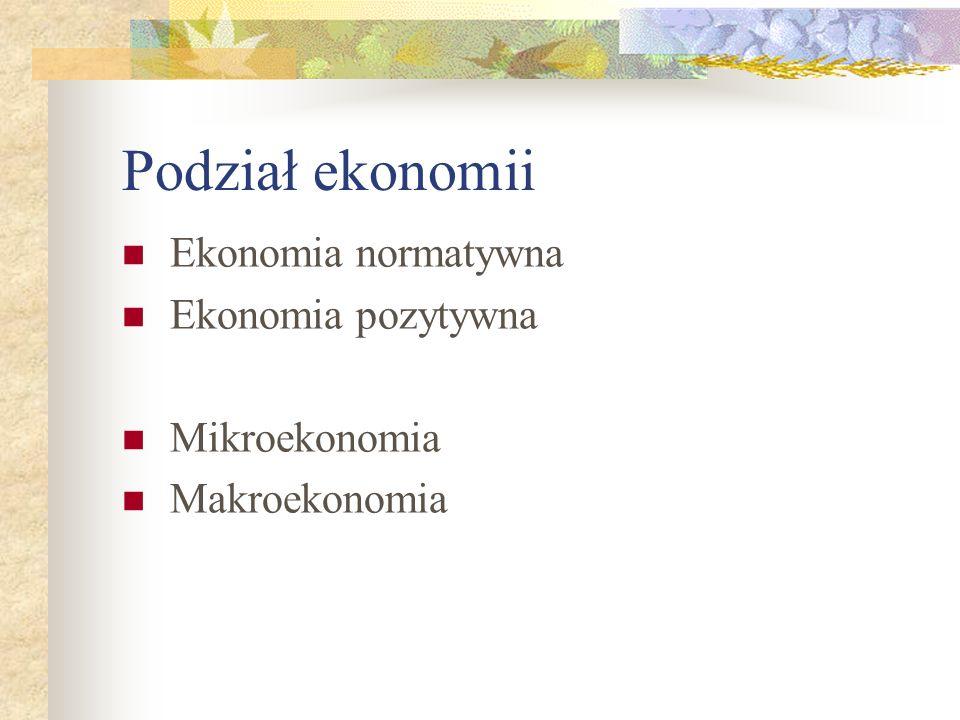 Podział ekonomii Ekonomia normatywna Ekonomia pozytywna Mikroekonomia Makroekonomia