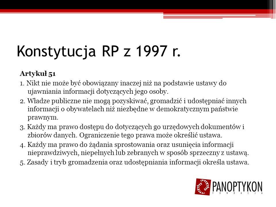 Konstytucja RP z 1997 r. Artykuł 51 1. Nikt nie może być obowiązany inaczej niż na podstawie ustawy do ujawniania informacji dotyczących jego osoby. 2