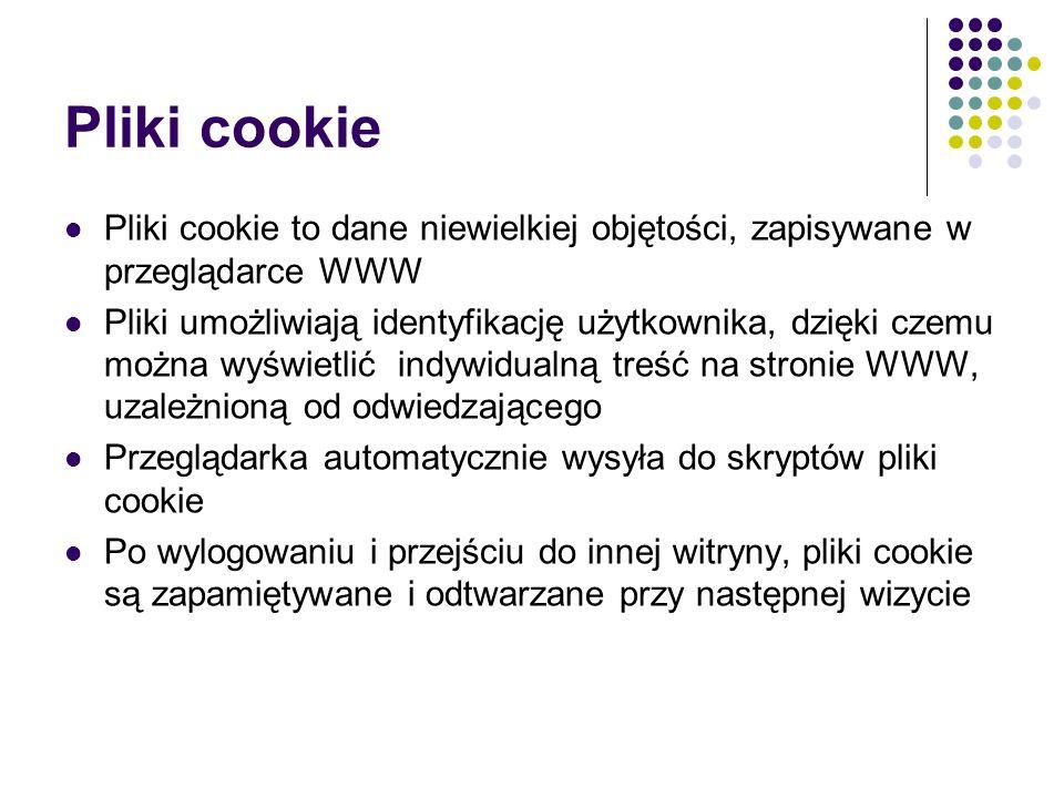 Składowe pliku cookie Każdy plik cookie składa się z nazwy i wartości, podobnie jak zmienna PHP, Instrukcja do utworzenia pliku cookie w przeglądarce jest przesyłana jako nagłówek HTTP przed przesłaniem strony WWW, Plik cookie ma datę ważności