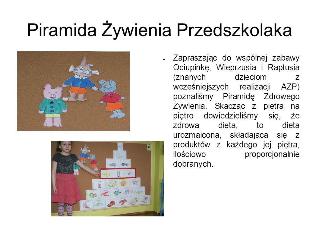 Piramida Żywienia Przedszkolaka Zapraszając do wspólnej zabawy Ociupinkę, Wieprzusia i Raptusia (znanych dzieciom z wcześniejszych realizacji AZP) poz