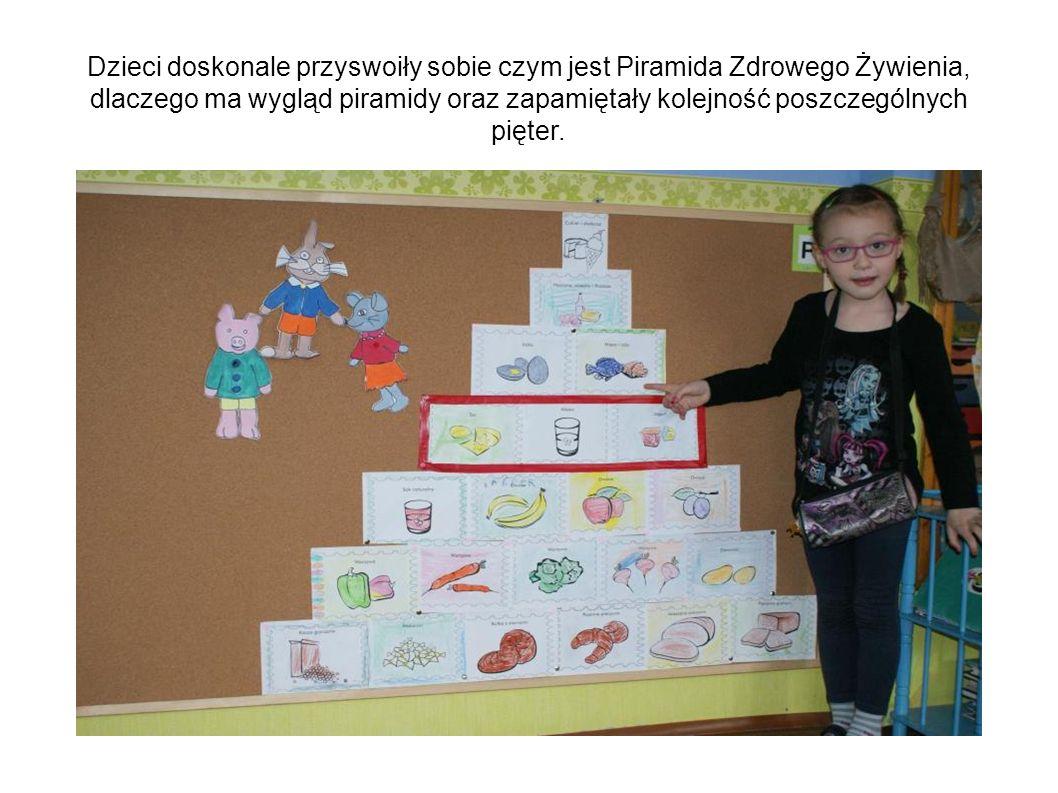Dzieci doskonale przyswoiły sobie czym jest Piramida Zdrowego Żywienia, dlaczego ma wygląd piramidy oraz zapamiętały kolejność poszczególnych pięter.