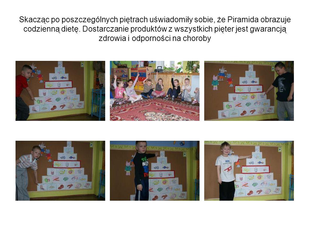Skacząc po poszczególnych piętrach uświadomiły sobie, że Piramida obrazuje codzienną dietę. Dostarczanie produktów z wszystkich pięter jest gwarancją