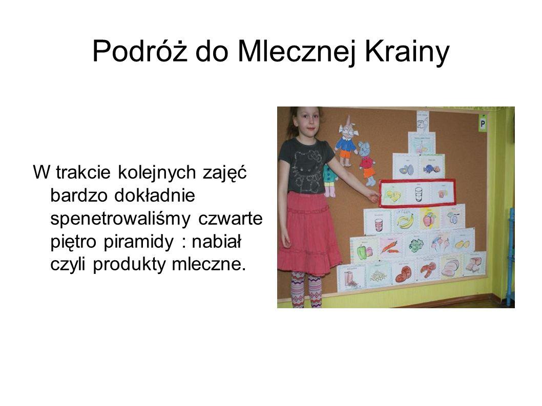 Dzieci zapoznały się z produktami pochodzenia mlecznego : kefirem, jogurtem, maślanką.