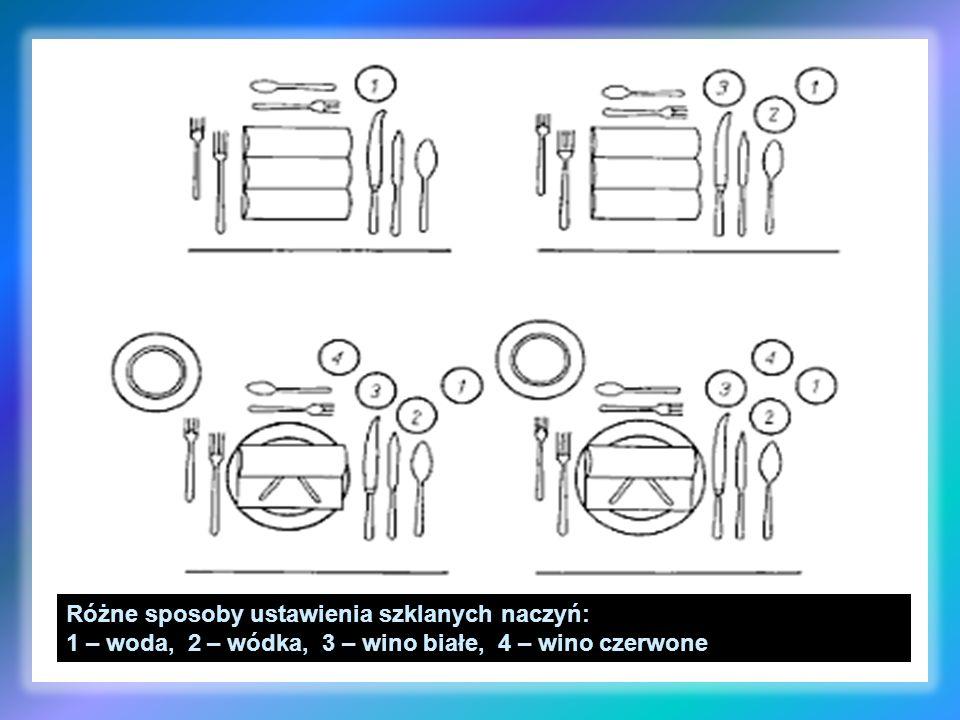 Różne sposoby ustawienia szklanych naczyń: 1 – woda, 2 – wódka, 3 – wino białe, 4 – wino czerwone