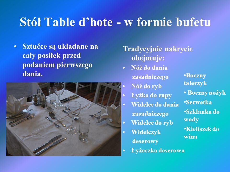 Stół Table dhote - w formie bufetu Sztućce są układane na cały posiłek przed podaniem pierwszego dania. Tradycyjnie nakrycie obejmuje: Nóż do dania za