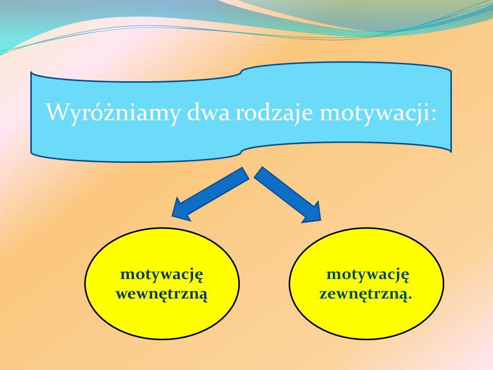 Wyróżniamy dwa rodzaje motywacji: motywację wewnętrzną motywację zewnętrzną.