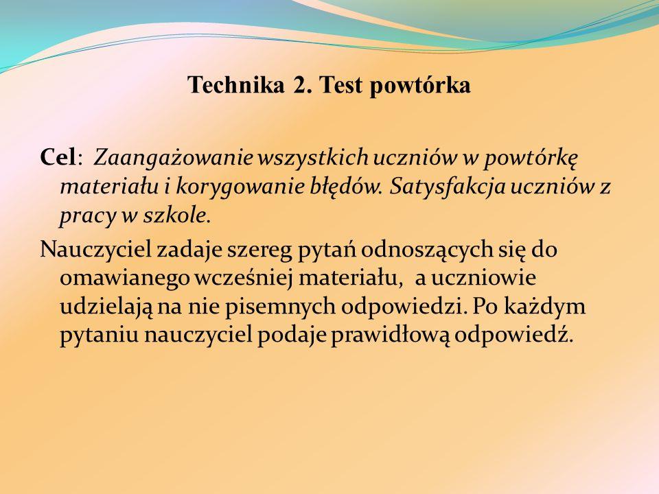 Technika 2. Test powtórka Cel: Zaangażowanie wszystkich uczniów w powtórkę materiału i korygowanie błędów. Satysfakcja uczniów z pracy w szkole. Naucz