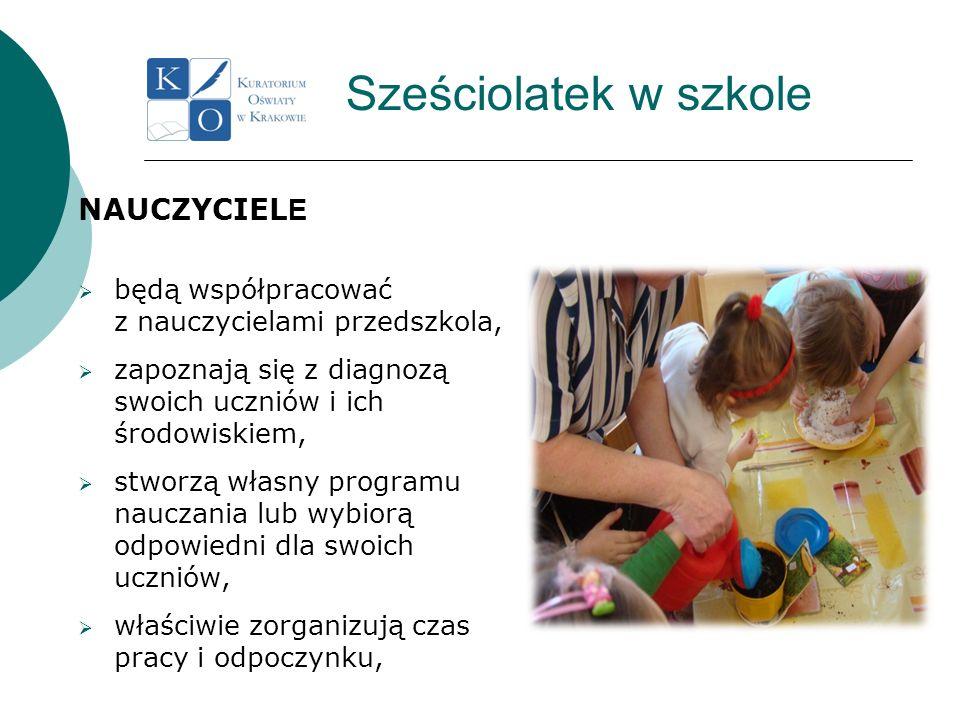Sześciolatek w szkole NAUCZYCIEL E będą współpracować z nauczycielami przedszkola, zapoznają się z diagnozą swoich uczniów i ich środowiskiem, stworzą