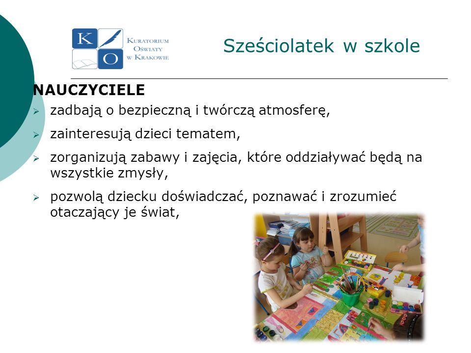 Sześciolatek w szkole NAUCZYCIELE zadbają o bezpieczną i twórczą atmosferę, zainteresują dzieci tematem, zorganizują zabawy i zajęcia, które oddziaływ
