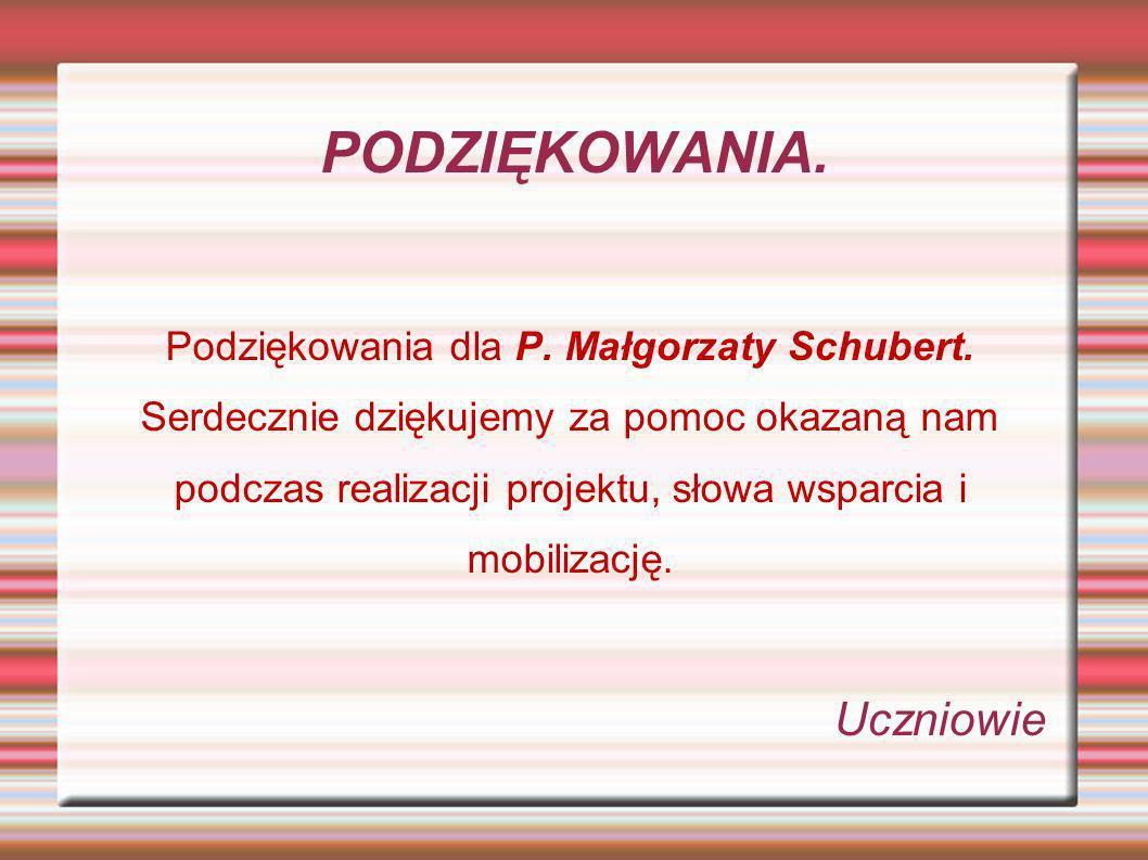 PODZIĘKOWANIA. Podziękowania dla P. Małgorzaty Schubert. Serdecznie dziękujemy za pomoc okazaną nam podczas realizacji projektu, słowa wsparcia i mobi