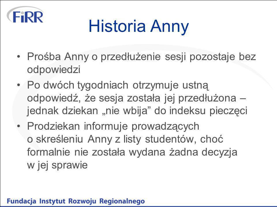 Historia Anny Prośba Anny o przedłużenie sesji pozostaje bez odpowiedzi Po dwóch tygodniach otrzymuje ustną odpowiedź, że sesja została jej przedłużon