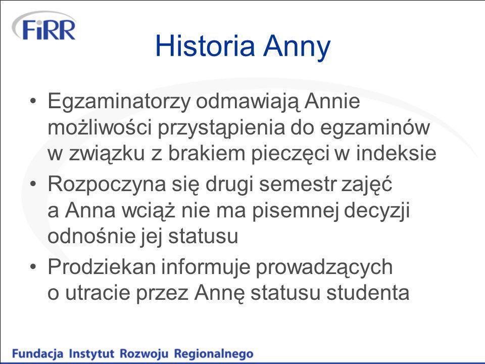 Historia Anny Egzaminatorzy odmawiają Annie możliwości przystąpienia do egzaminów w związku z brakiem pieczęci w indeksie Rozpoczyna się drugi semestr