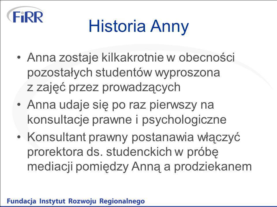 Historia Anny Anna zostaje kilkakrotnie w obecności pozostałych studentów wyproszona z zajęć przez prowadzących Anna udaje się po raz pierwszy na kons